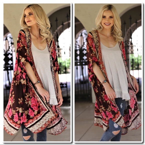 7137cc9ef52fc Angie Tops - Floral Print Kimono IN Chocolate